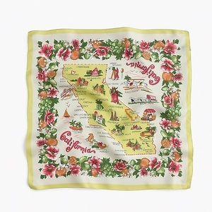 J. Crew Silk Scarf California Map Made in Italy